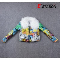 Autumn and winter vintage doodle fancy berber fleece fur collar long-sleeve wadded jacket cotton-padded jacket outerwear female