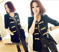 2013 New Western Style Gold Button Sweater Double-breasted Cardigan Autumn Women's Coat  Jacket M-XL Sizes Free Shipping XX45
