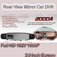 Free shipping 2000A 2013 New rear view mini car DVR FULL HD 3.0 inch screen black box for car