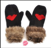 Mixed Order Over $150,Ship By DHL Free Shipping Fur Knit Mittens Gloves Knit Mittens Gloves With Love Heart For Women/Girls
