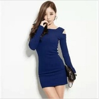 2013 new hot fashion women clothing cute casual active sexy dress Elegant long sleeve Sexy Off the shoulder Short Slim