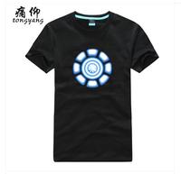 Movie Iron Man Tony Stark Power Coil Chest Black Tee Shirt Men Women %100 Cotton Short sleeve Round Neck Fashion Print T-Shirts