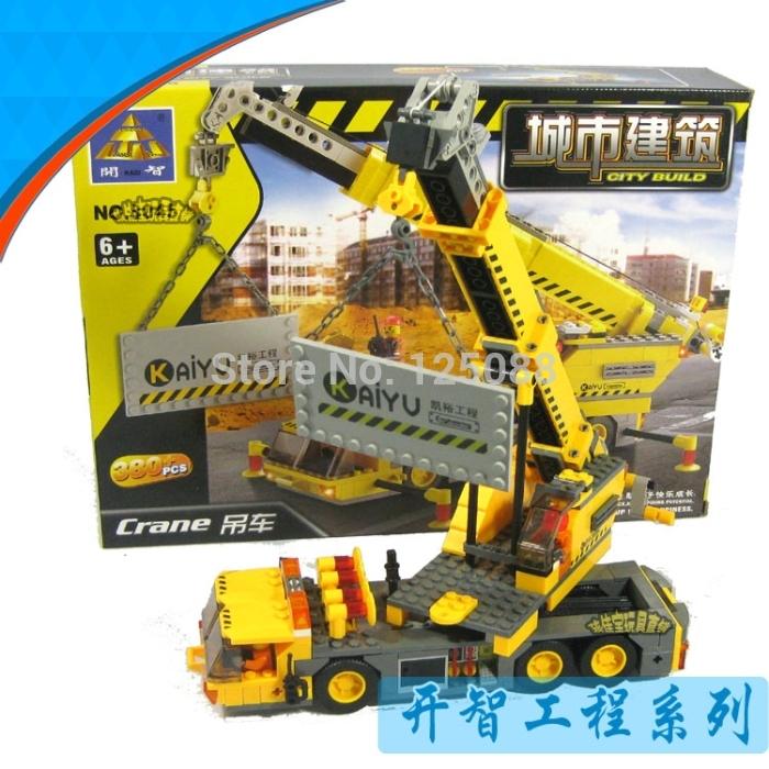 KAZI 8045 380pcs 3D construction eductional plastic Building Blocks Sets Engineering Series crane children toys Christmas Gifts(China (Mainland))