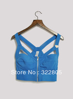 Fashion street bandage zipper corset short top spaghetti strap tube top underwear small vest female