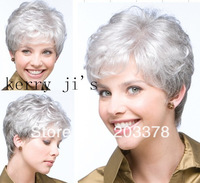 Top Sale Fashion short Platinum/Silver curly Synthetic hair full wig free shipping