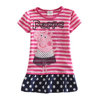 FREE SHIPPING K4449# 18m/6y 5pieces /lot tunic top pig embroidery summer short sleeve T-shirt for baby girls