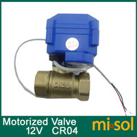 "Free Shipping 1pcs of motorized ball valve G3/4"" DN20 (reduce port) 2 way 12VDC CR04, electrical valve"