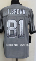 Free Shipping Wholesale 2013 New Football Jerseys Oakland #81 T Brown Drift Fashion Grey Elite Jersey Size 40-56