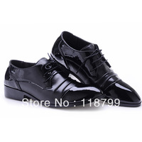 Free shipping nightclub hairdresser pointed patent leather shoes men's low help business men dress shoes Korean tidal shoes