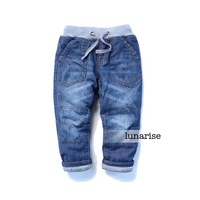 Children's clothing 2013 winter child denim pants cotton-padded male child baby 100% cotton thickening long trousers