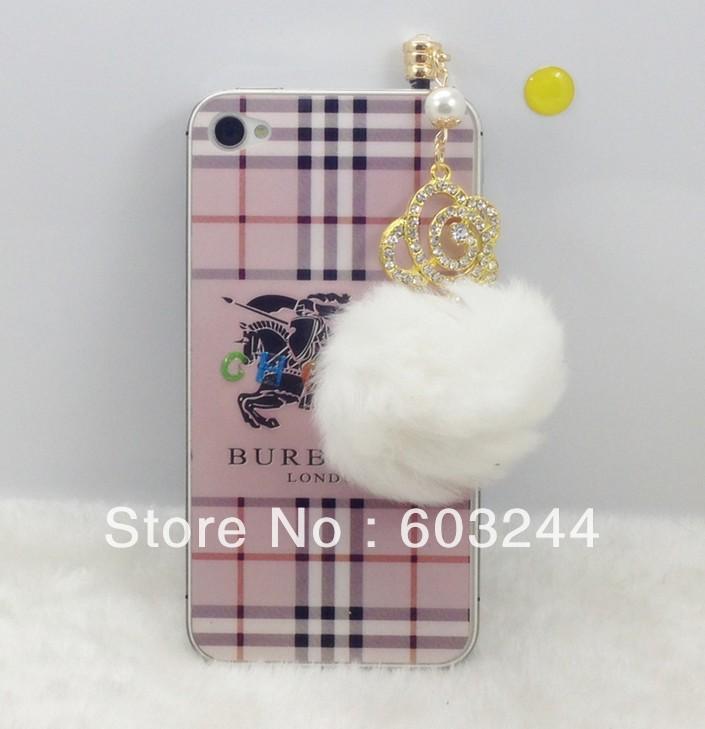 FreeShip 20pcs 3.5mm Headset Jack Large Crystal Pearl Flower Fur Ball Earphone Jack Plug Anti Dust Plug for iPhone 4 4S 5 5S(China (Mainland))