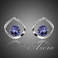 Noble White Gold Plated Blue SWA ELEMENTS Austrian Crystal Stud Earrings FREE SHIPPING!(Azora TE0041)