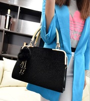 2013 new supernova sale winter elegant horse hair handbag beads fur pendant  totes fashion black blue high quality shoulder bag