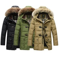 free shipping new 2013 autumn winter thickening medium-long horn button down coat men's casual fashion Down Parkas