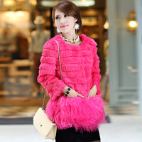 Fur coat medium-long 2013 full leather rabbit fur overcoat sheep
