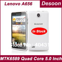 Free shipping 5Inch Original Lenovo A656 cell phone MTK6589 QuadCore 512 mb RAM 4G ROM Android 4.2 Capacitive TouchScreen/Koccis