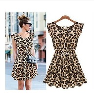 2013 NEW European Style Women Summer Fly Sleeve O-neck Slim Waist Animal Leopard Print Pleated Milk Silk Dress size M-XL