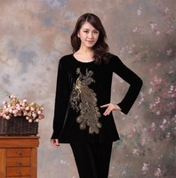 2013 plus size clothing casual set embroidered outerwear autumn and winter fashion long-sleeve sports set