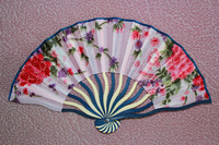 Free shipping 20pcs/lot dragon shape bamboo frame satin fabric hand fan with flower designs for ladies