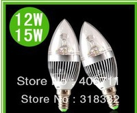 12W E27 LED bulb candle light silver shell Cool/ Warm White LED Candle Light Bulb Spot Light, free shipping