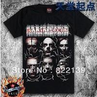 loose plus size rammstein shirts men's Fashion band short  t-shirt printing,  round neck 100% Cotton