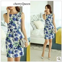 2014 female jumpsuit slim vintage elegant one-piece dress flower print sleeveless slim hip dresses