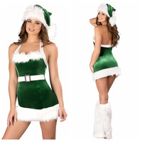 NEW !! 2013 Sexy Women Green+White Christmas Halter  Costume For Adults Party Dress Lingerie Women With Hat