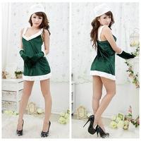 Sexy Adult Women Fashion Chirstmas Green Costume,christmas party women dress,free shipping