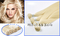 original 100 perfume Brazilian virgin Hair Extensions Remy human hair weave /hair weft 20.22 inch#613Bleach Blonde free shipping