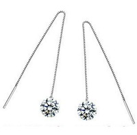 Earring Austria Crystal Genuine  Earrings For Women 925 Sterling Silver Plated  Fashion Jewelry/Wedding Jewelry