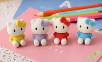 free shipping 10pcs/lot hello kitty rubber eraser cartoon stationery kids children's day gift christmas day gift