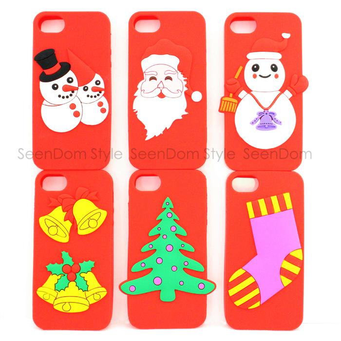 ... Santa Snowman Xmas Stocking Phone Case For iPhone 4 4S PC022-PC027-4
