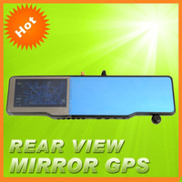 Free shipping 4.3 inch Car GPS Rearview Mirror wholesale+Bluetooth+4GB card maps+720P HD DVR+TF card +Free Shipping