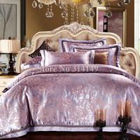 Free Shipping,Jacquard satin cotton 4pcs Full/Queen/King comforter/duvet covers geometric modern pattern purple bedding sets