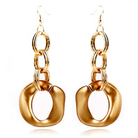 Free Shipping Cheap Gift Wholesale Jewelry Gold Plated Silver Chunky Earrings For Women Jewelry Drop Pendant Earrings