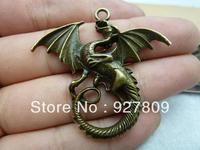 Free shipping 10pcs 42*46mm Ancient Bronze  Alloy  Dragon diy accessories Jewelry pendants
