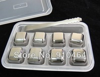8pcs+clamp/lot Stainless steel Ice Cubes whisky Chilling wine rocks,beer ice stone,bar accessaries cooling Drink Chiller