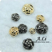 free shipping buttons quality rose metal button personality fashion overcoat sweater button 28mm, 8pcs per lot