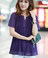 New Collection 2014 Summer Plus Size Blouse Women Chiffon Blouse Blusas Female Free Shipping