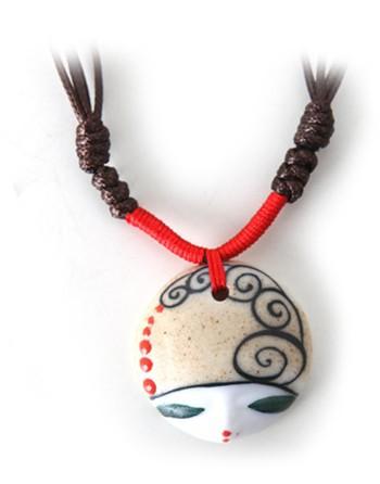 Estilo China cabeça da boneca esculpida pintados à mão colar de porcelana colar de beleza colar(China (Mainland))