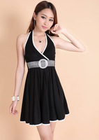 2013 summer new Korean Women Simple Sexy Halter Dress Strapless backless sleeveless dress Free shipping
