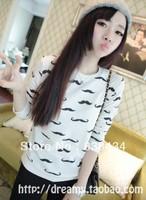 2013 new women's fashion mustache printed T -shirt women long-sleeved sweater bottoming shirt
