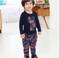 New arrival autumn-winter children's clothing kid boy's child harem pants clothing set camouflage cartoon set 100% cotton