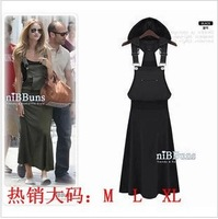 Europe and the United States big big yards h vest hooded dress style shoulder-straps connect dress