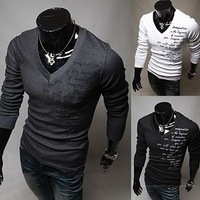 Mens Fashion Luxury Casual Slim fit  V-neck  T shirt  tops  3color