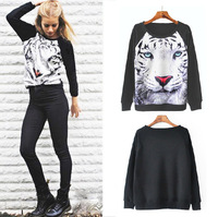 Free shipping 2013 new autumn fashion womens 3D tiger print hoodies womens sweatershirts long sleeve Novelty pullovers