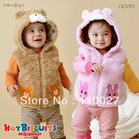 2014 NEW baby vests for winter hooded waistcoat cartoon thick sleeveless topcoats little bear tank top 5pcs/lot kids wear
