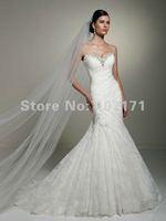 Delicate Sweetheart Mermaid Corset Back Rhinestones Ruffle Lace Wedding Dress 2013