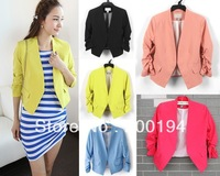 Free Shipping 2013 New Style Slim Wild 7 Points Sleeve No Deduction Candy Colors Blazer Women