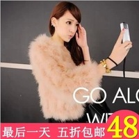 2013 autumn and winter faux rex rabbit skin short plush fox design ostrich fur coat